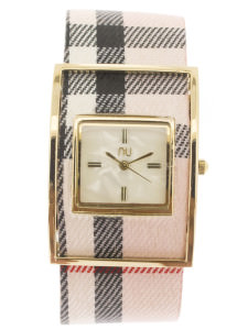 Pink & gold checkered watch - Times Square