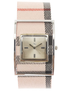 Pink & silver checkered watch - Times Square