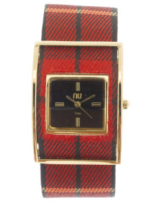Red & gold checkered watch - Times Square