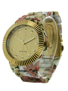 Beige floral watch