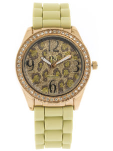 Beige leopard print watch