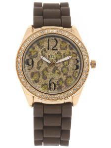 Brown leopard print watch